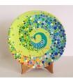 Мандаларская тарелка ручной работы с изображением павлина