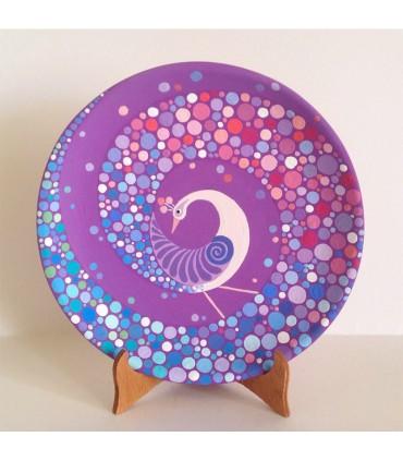 Тарелка ручной работы фиолетовая с изображением павлина