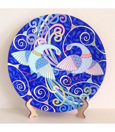 Тарелка ручной работы синий павлин бой