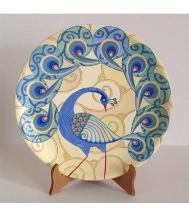 Тарелка ручной работы бежевый/светло-голубой павлин