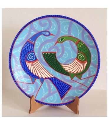 Тарелка ручной работы синий/зеленый павлин
