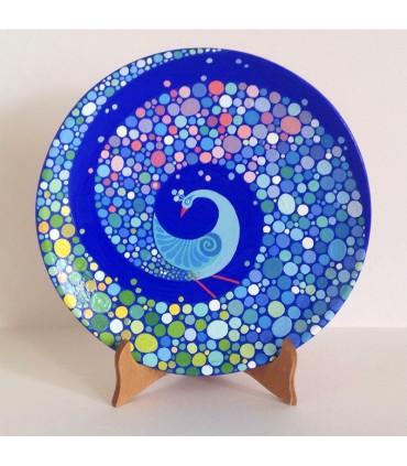 Тарелка ручной работы разноцветный павлин