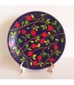 Тарелка ручной работы черные/красные цветы