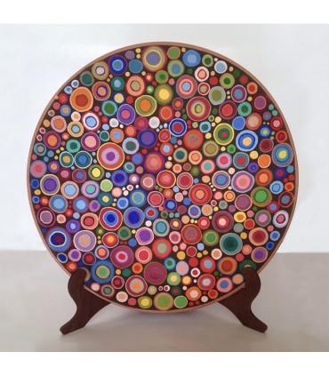 Тарелка ручной работы красочная мандала