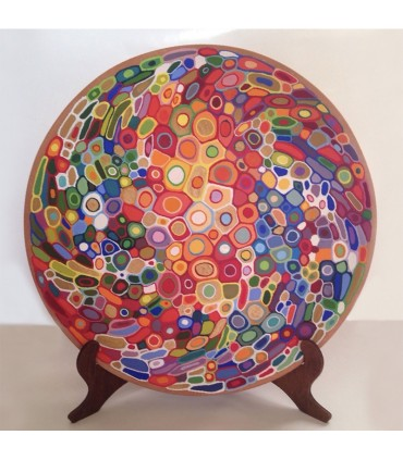 Тарелка ручной работы красочная мандала2
