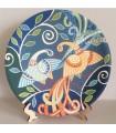 Тарелка ручной работы светло-голубые/оранжевые павлины