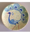Тарелка ручной работы синий/бежевый павлин