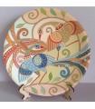 Бой павлинов на тарелке ручной работы
