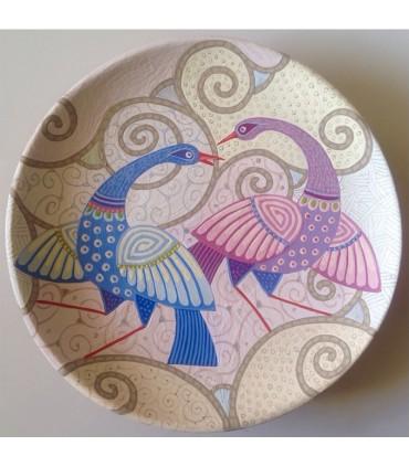 Тарелка ручной работы синие / фиолетовые павлины