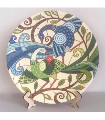 Тарелка ручной работы синий / зеленый бой павлина