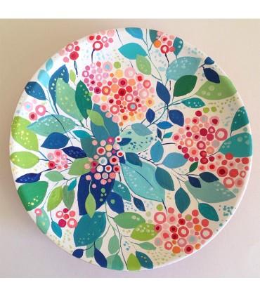 Цветочный венок из тарелок ручной работы
