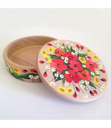 Шкатулка для украшений ручной работы красные цветы