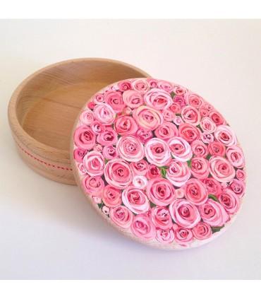Шкатулка для украшений ручной работы поле розовой розы