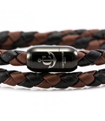 Браслет Constantin Maritime из кожи, черный / коричневый