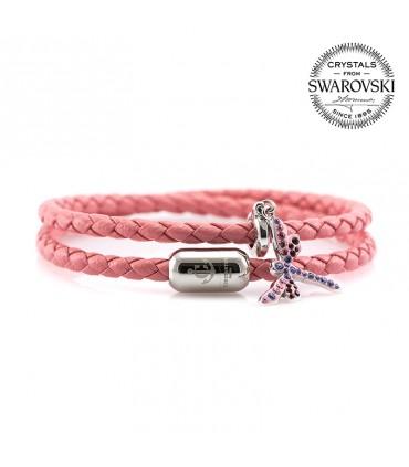 Браслет Constantin Maritime из кожи, розовый с кристаллами Swarovski