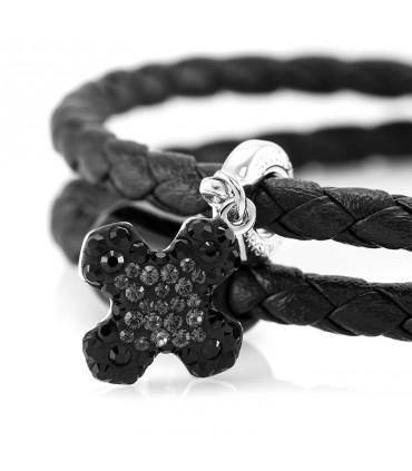 Браслет Constantin Maritime из кожи, черный с кристаллами Swarovski