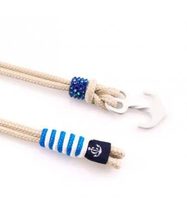 Браслет Constantin Maritimes из парусной веревки, бежевый / синий с кристаллами Swarovski