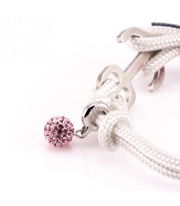 Браслет Constantin Maritimes из парусной веревки, белый / розовый с Swarovski